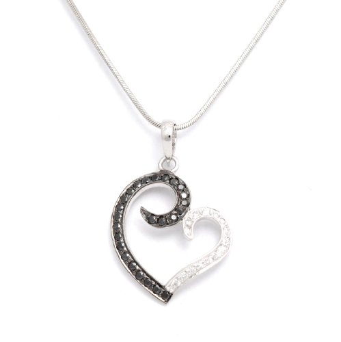 Cara sterling silver jewellery & swarovski Shades of love Black-White Heart pendant for Women (multicolor)
