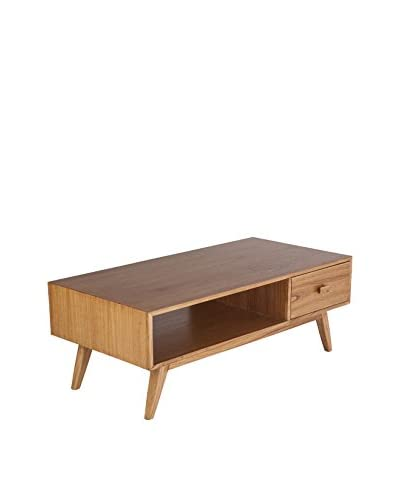 Control Brand The Mid Century Edelmar 1-Drawer Coffee Table, Brown