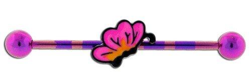 Pink - Butterfly Candy Stripe Scaffold Bar - Pierced & Modified - Body Jewellery - Unusual Industrial Bars