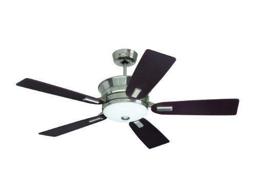 Emerson Ceiling Fans CF990BS Highgrove Indoor Ceiling Fan With Light And Remote, 53-Inch Blades, Brushed Steel Finish