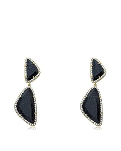 Riccova Arctic Mist Faceted Blue Glass Double Drop Earrings with CZs