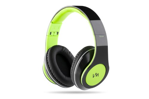 Vm Audio Elux Over Ear Dj Stereo Mp3 Iphone Bass Headphones - Piano Black/Green
