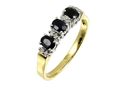 Ariel 9ct Yellow Gold Diamond and Sapphire Eternity Ladies Ring