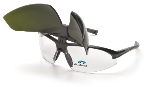 Pyramex Onix Plus Readers Safety Eyewear, Clear +1.5 Anti-Fog Lens 5.0 Ir Filter Flip Lens With Black Frame