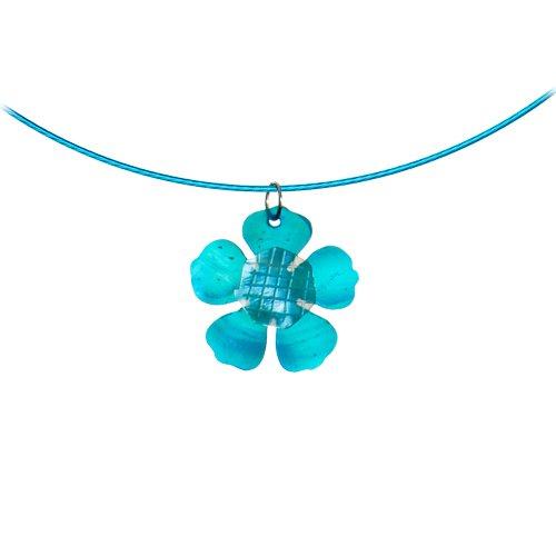 Aqua Blue Flower Shell Choker Necklace
