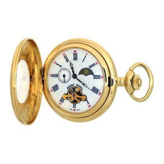 Mount Royal - 24 Hour Moondial Gold Plated Half Hunter 17 Jewel Mechanical Pocket Watch - B31P - (WW1758) - 4.4cm diameter x 0.9cm depth