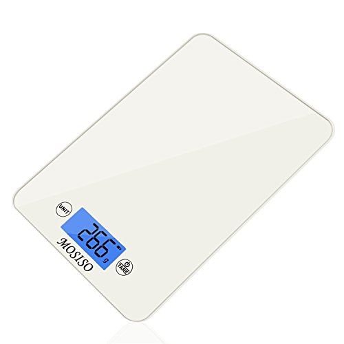 Mosiso - Ultra-Thin Touch Professional Digital Kitchen Scale (11 lbs Edition), Tempered Glass in Elegant White (Professional Digital Kitchen compare prices)