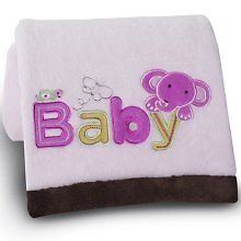 Kidsline Embroidered Boa Blanket - Baby - Pink Elephant - 1