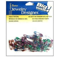Darice Jewelry Designer Safety Pins #00 Assorted Colors 60 Piece (Pack of 3)