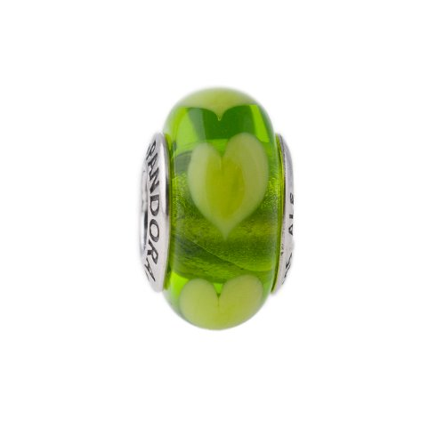 Genuine PANDORA Sterling Silver Green Hearts Murano Glass Charm 790656