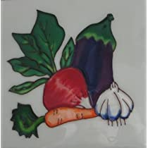 Vegetable Carrot Radish Eggplant Garlic Ceramic Wall Art Kitchen Tile 4x4