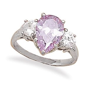 Sterling Silver Rhodium Plated Ring with Pear Shaped Lavender CZ and Heart CZ Sides / Size 6