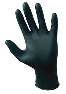3 Pack SAS Safety 66518 Raven 6 mil Black Nitrile Disposable Gloves - Large (100 Gloves per Box)