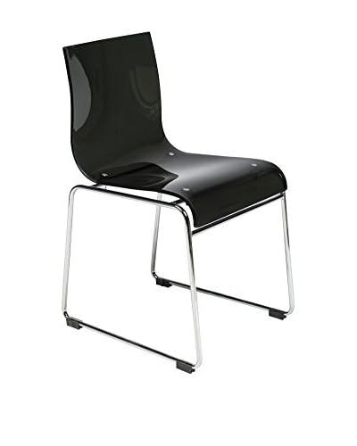 LeisureMod Lima Modern Acrylic Chair, Transparent Black