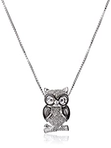 Sterling Silver Black and White Diamond Owl Pendant Necklace (.09 Cttw I-J Color, I3 Clarity), 18