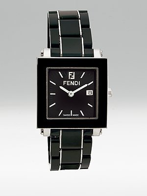 Fendi Women's F621110 Ceramic Analog Display Quartz Black Watch
