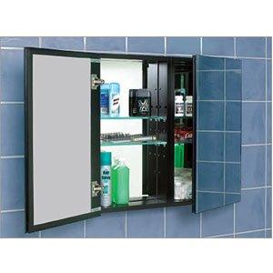 Century Bathworks 3830 6 IN-Depth Flat Mirror Black Interior Bathroom Fixtures Double Door 4