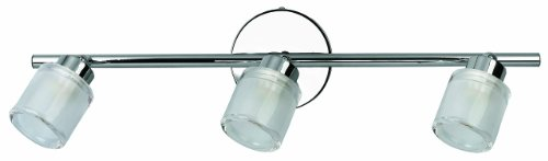 Canarm It334A03Ch9 Allure 3 Bulb Flush Mount Track Light, Chrome With Opalescent Glass