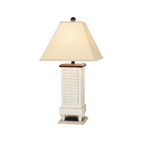 Shutter Table Lamp : Antique white shutter table lamp amazon