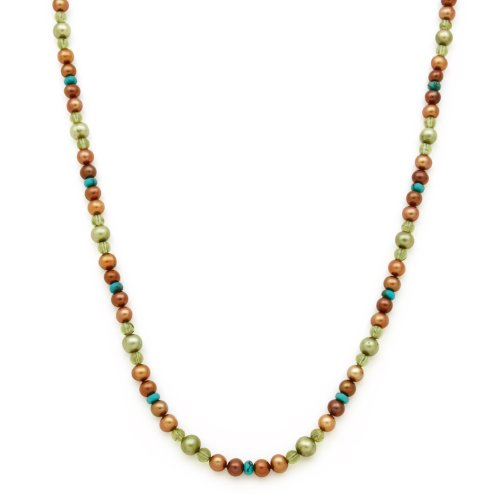 Fancy Multicolor Freshwater Pearl, Peridot, and Turquoise Necklace in Sterling Silver in Gift Box