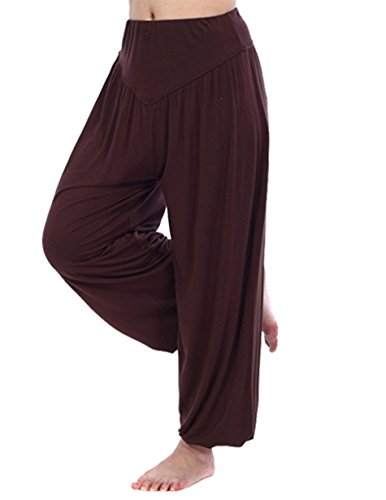 HOEREV Super Soft Modal Spandex Harem Yoga/ Pilates Pants, C