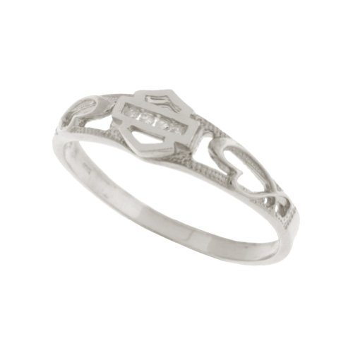 Harley-Davidson® Stamper® Women's 10K White Gold Diamond Ring (.04 cttw), Sculpted Hearts. WR7383D