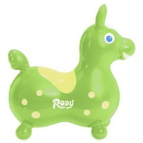 Inflatable 'Rody Horse' Children's Ride-On Rocking Horse: Color is Lime Green