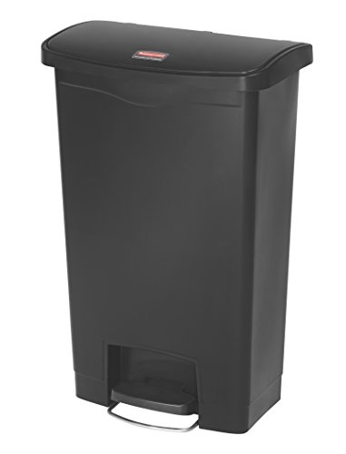 Rubbermaid Commercial Slim Jim Front Step-On Trash Can, Plastic, 13 Gallon, Black (Trash Can Step 13 Gallon compare prices)