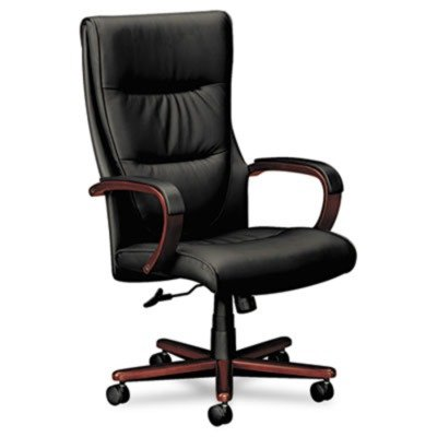 HON HVL844 Executive Chair for Office or Computer Desk, Mahogany Frame, Black Leather