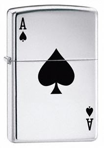 Zippo Cigarette Lighter, Lucky Ace, High Polish Chrome, Personalised FREE