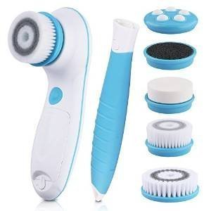 dbpower-6-in-1-waterproof-electric-facial-and-body-cleansing-brush-with-detachable-handle-blue