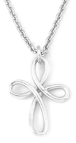 Sterling Silver Twisted Wire Cross Pendant, 21 Inch