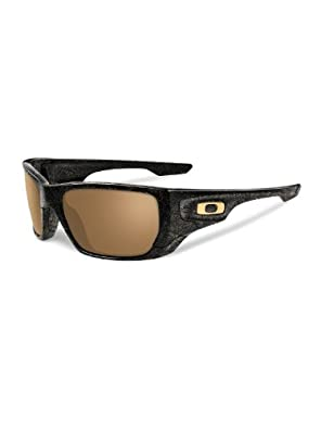 Oakley Style Switch Polished Black/Gold Ghost Text/Tungsten Iridium Polarized Lens Mens Sunglasses