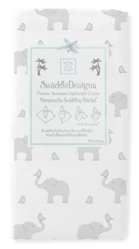 Swaddledesigns Marquisette Swaddling Blanket, Elephant And Chickies, Seacrystal