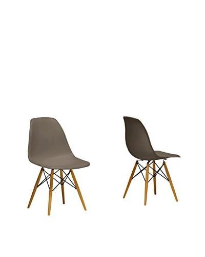 Baxton Studio Set of 2 Azzo Shell Chairs, Gray