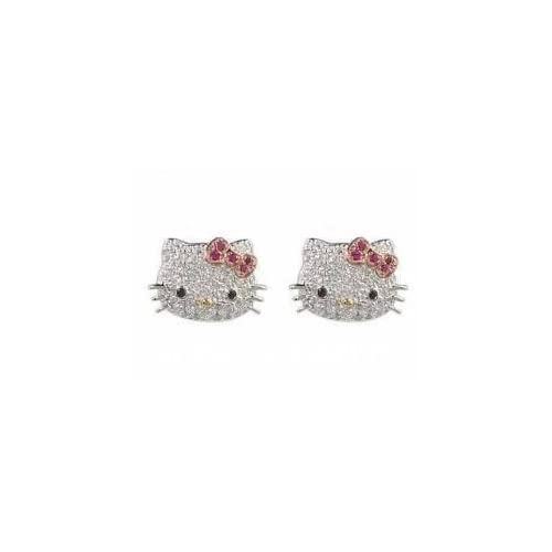 Hello Kitty DESIGNER STYLE Diamante Crystal & Rhinestone Pink Bow Stud Earring set by Jersey Bling ships with FREE gift box
