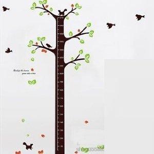 かわいい 小鳥と リスさんと 木 身長の 計れる ウォールステッカー 170cm