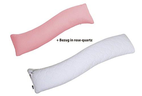 Sei-Design-Seitenschlferkissen-1x-Satin-Bezug-dank-natrlichen-S-Form-passt-sich-ideal-Ihrem-Krper-an-und-dient-auch-als-Schwangerschaftskissen-oder-Stillkissen-40x130-cm-Hochwertige-Steppung-in-WELLE-