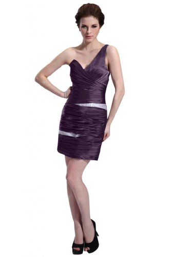 31usKYPTMzL Special Offers: Emma Y Lady Womens One Shoulder Sheath Short Dress