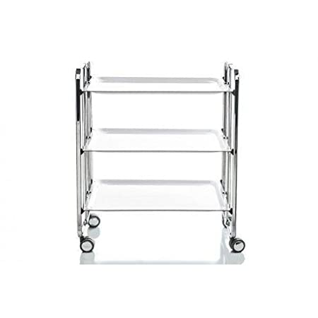 Folding Trolley 3 Shelves., Blanco, One Size