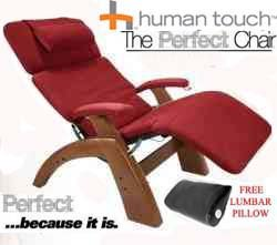 The Human Touch Power Electric Perfect Chair Recliner - PC95 / PC-095 Walnut Recline Wood Base Garnett Red MicroSuede Pads - Interactive Health Zero Anti Gravity Chair