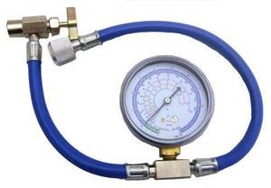 Enviro-Safe R12/R22 Can Tap with Gauge - R-134a Can to R-12/R-22 Port from Enviro-Safe