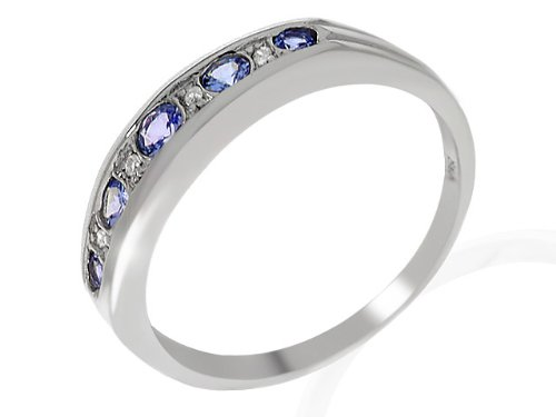 Eternity Ring, 9ct White Gold Diamond and TanzaniteRing, Channel Set