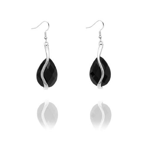 Rodney Holman Teardrop Crystal Bar Earrings - Black