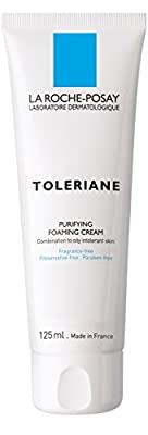 La Roche-Posay Toleriane Purifying Foaming Cream Facial Cleanser for Sensitive Skin with Glycerin, 4.22 Fl. Oz.