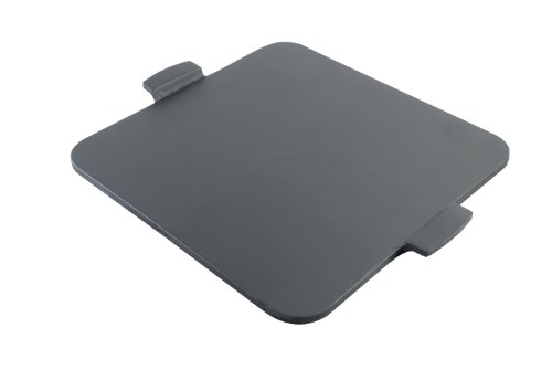 "Pizzacraft 14.5"" Square Glazed Pizza Grilling Stone With Handles - Pc0111 (Black) front-33131"