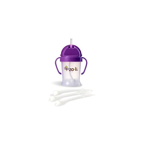 Zoli Bot Straw Sippy Cup (Purple) Plus 3 BOT Replacement Straws.