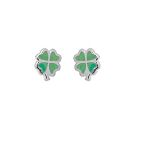 Boma Sterling Silver & Green Turquoise Clover Post Earrings