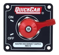"QuickCar Racing Products 55-011 Red 2-1/2"" High x 2-1/2"" Wide Handle Battery Master Disconnect Switch with Alternator Post and Black Mounting Panel"