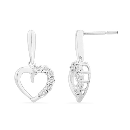 Platinum Plated Sterling Silver Round Diamond Fashion Earrings (1/20 Cttw)